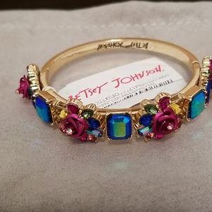 Betsey Johnson Rose Cluster Hinged Bangle Bracelet